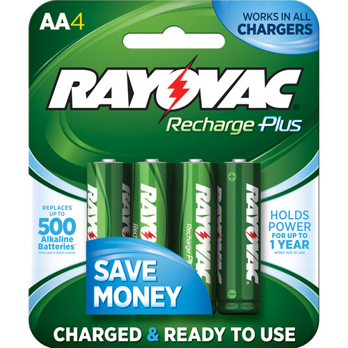 Rayovac Recharge Plus NiMH AA Batteries, 4-Pack