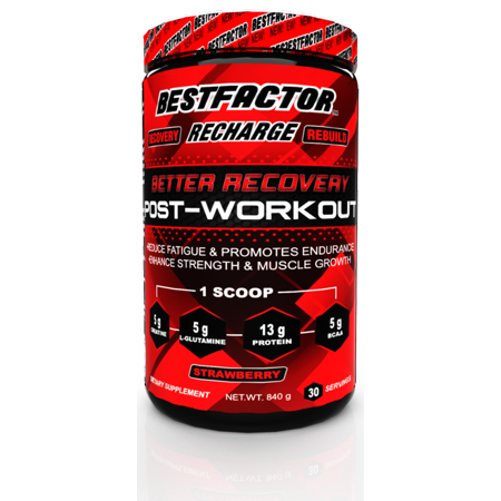 BESTFACTOR Recharge Post Workout Protein Powder with BCAA, Creatine and L-Glutamine by Best Factor. Muscle Building Recovery Powder for Men and Women (strawberry). Reduce Fatigue - 30 (Best Creatine For Men)