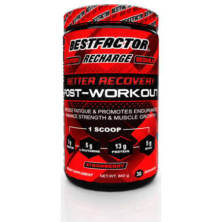 BESTFACTOR Recharge Post Workout Protein Powder with BCAA, Creatine and L-Glutamine by Best Factor. Muscle Building Recovery Powder for Men and Women (strawberry). Reduce Fatigue - 30
