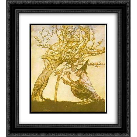 Arthur Rackham 2x Matted 20x24 Black Ornate Framed Art Print 'Tree of mine! O Tree of mine! Have you seen my naughty little maid'