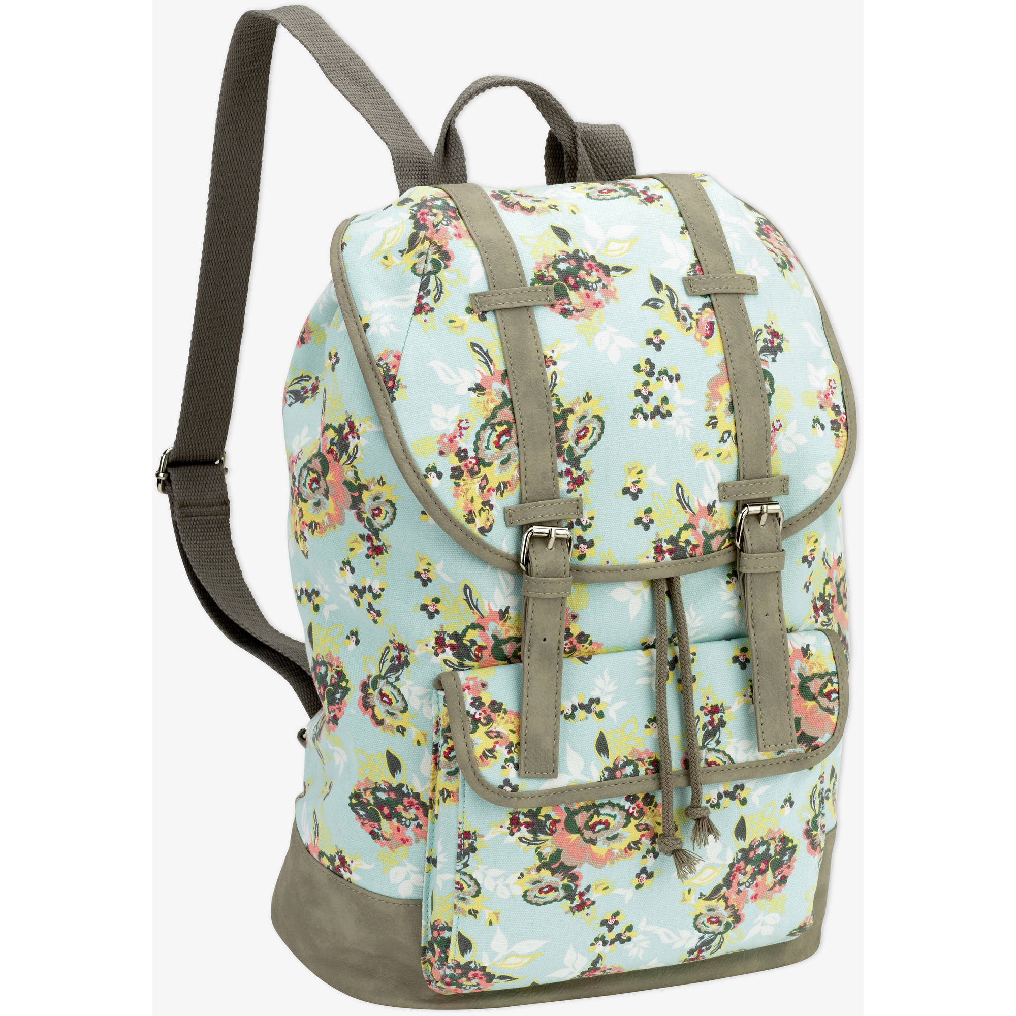 "No Boundaries 18"" Printed Canvas  Double Buckle Flap Backpack"