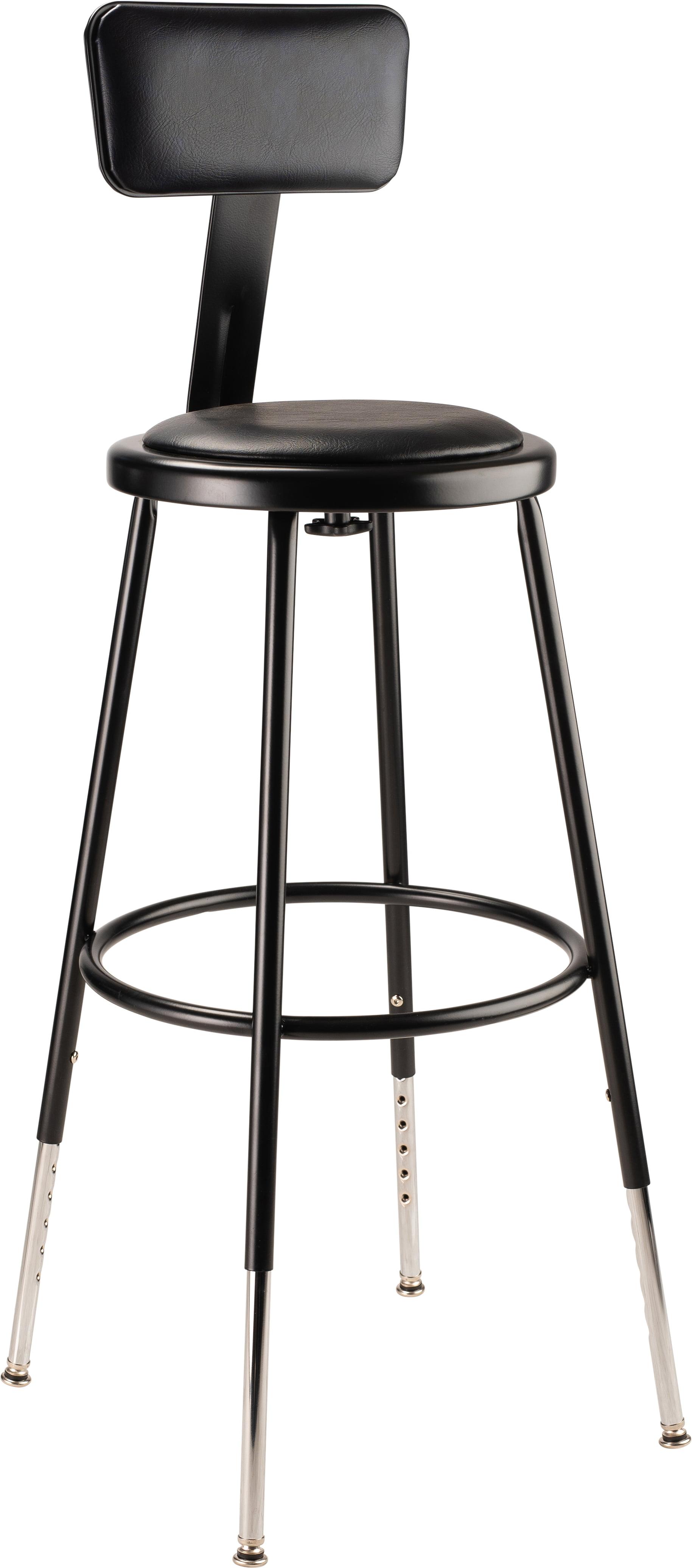 Nps 24 Adjustable Height Heavy Duty Vinyl Padded Steel Stool With Backrest Black Walmart Com Walmart Com