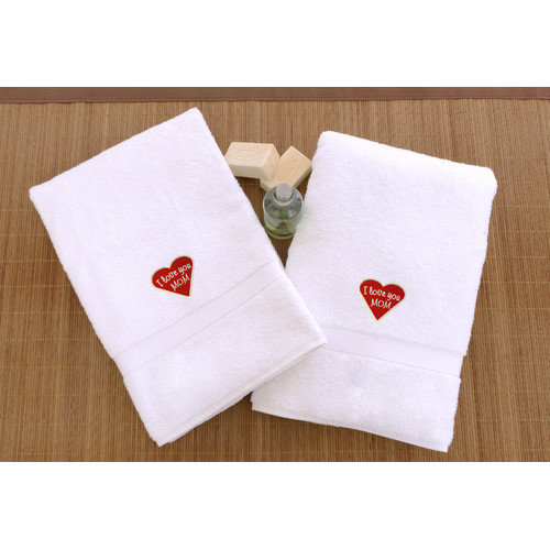 Linum Home Textiles I Love You Mom Embroidered Hand Towel (Set of 2)