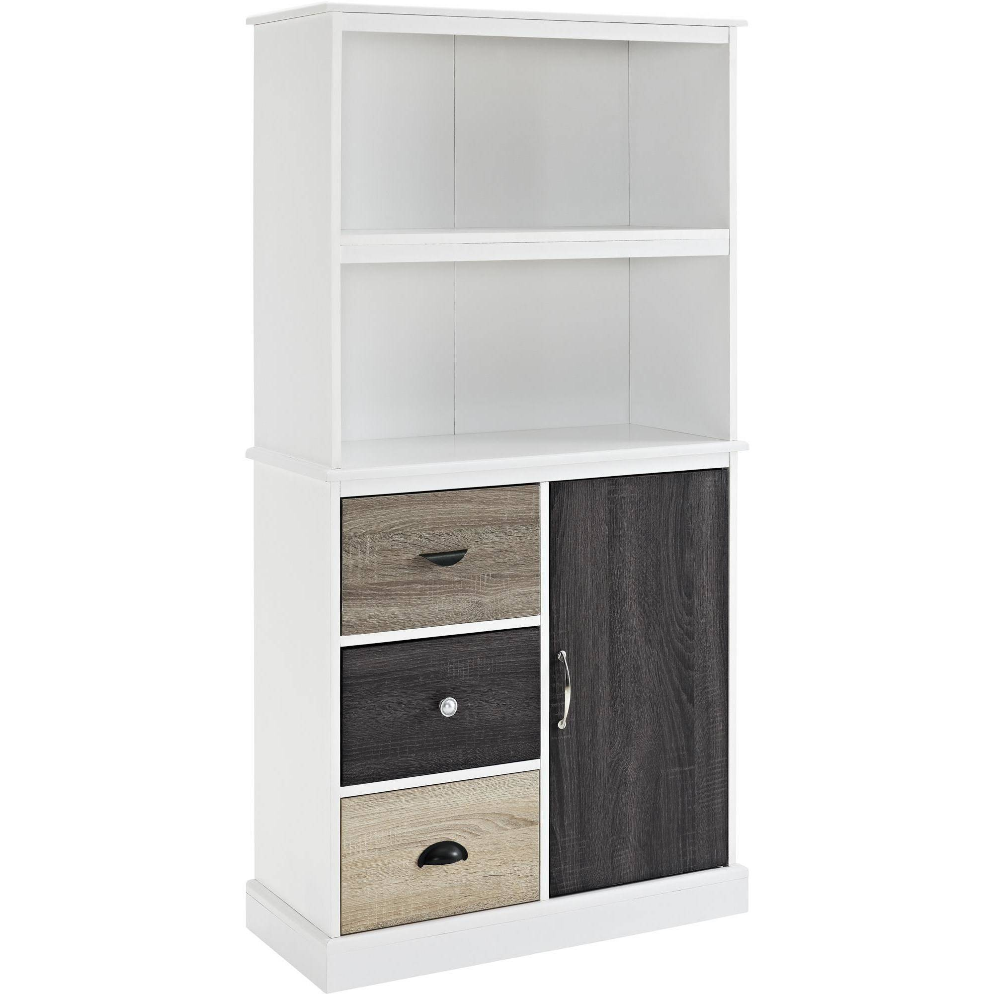 Ameriwood home mercer storage bookcase with multicolored door drawers black walmart com