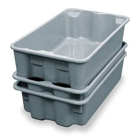 Heavy Duty Stack and Nest Container, Gray ,Molded Fiberglass, 780208