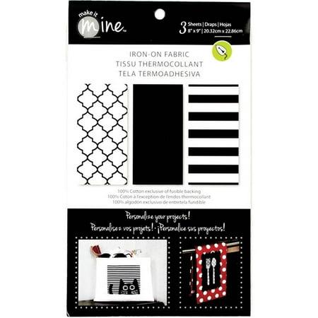 "Iron-On Fabric Sheets 8"" x 9"" 3/Pkg - Black/White"