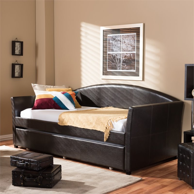 Baxton Studio London Modern and Contemporary Faux Leather Arched Back Sofa Twin Day Bed with Roll-Out Trundle Guest Bed,... by Baxton Studio