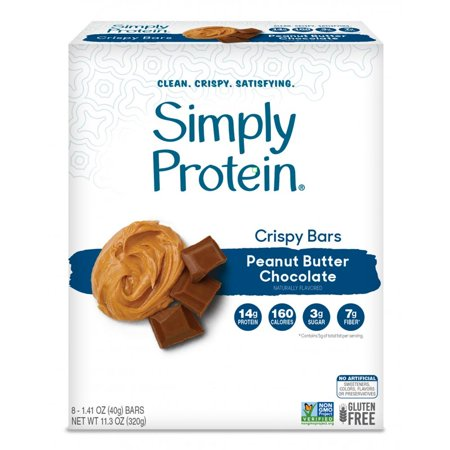 Simply Protein Crispy Bar, Peanut Butter Chocolate, 14g Protein, 8 - Carb Protein Chocolate