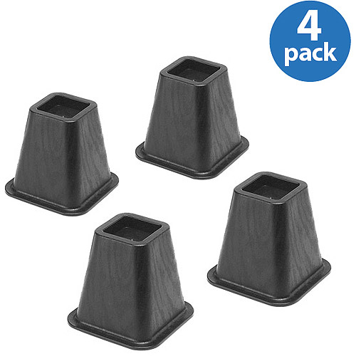 Whitmor Bed Risers, Black, Set of 4