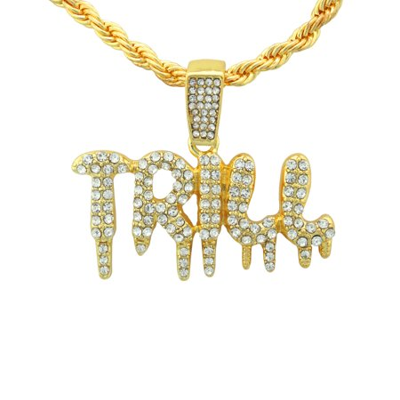"""14K Gold Plated Hip Hop Bling Shiny Stone Iced Out Dripping """"TRILL"""" Bubble Letter Word Pendant With 24"""" Rope Chain"""
