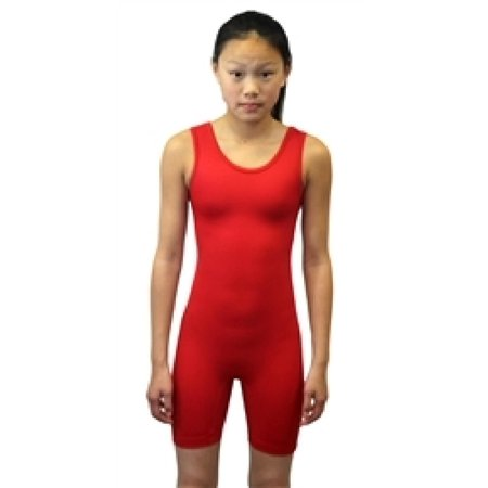 Adoretex Women's Solid Modified Wrestling Singlet Unitard Swimsuit (WMS01)  - Red-XS