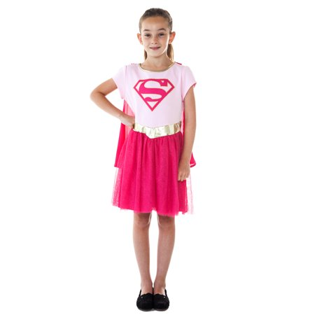 Little Girls Supergirl Costume Dress w/ Cape Pink Halloween Cosplay