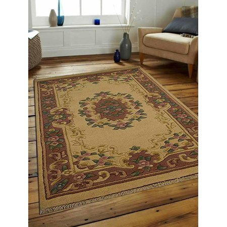 Rugsotic Carpets Hand Knotted Aras Wool 3'x5' Area Rug Oriental Ivory Rose AR0102 ()