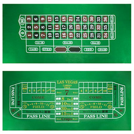 Brybelly Roulette & Craps Green Casino Gaming Table Felt Layout, 36