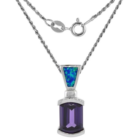 - Sterling Silver Synthetic Opal Slide Necklace for Women Amethyst CZ 8x13mm Inlay 7/8 inch 18 inch ROPH_25
