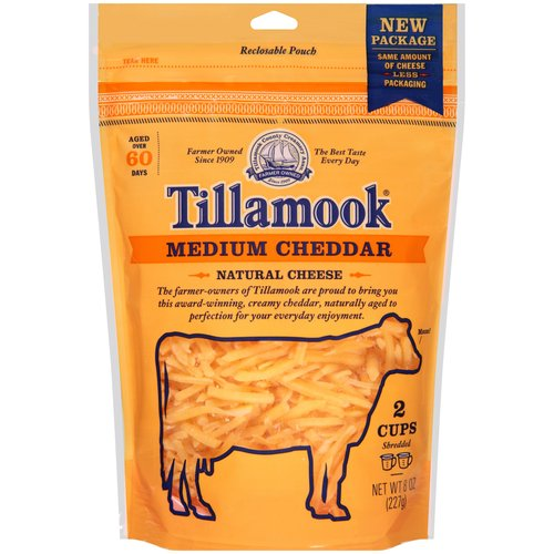 Tillamook Shredded Medium Cheddar Cheese, 8 oz