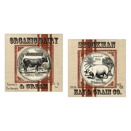 Lovely Country Rustic Burlap-Style Organic Cow and Pig Set by Tre Sorelle Studios: Two 12x12in Paper Posters (Printed on Paper, Not Burlap_