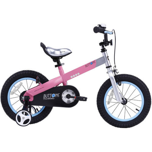 Cycle Force Group RoyalBaby Matte Buttons Kid's bike, unisex children's bike with training wheels, various trendy features, gifts for fashionable boys & girls, 14 inch wheels, Matte Pink