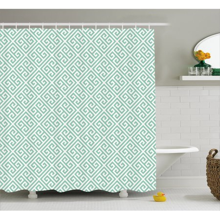 Greek Key Shower Curtain, Antique Labyrinth Motifs in Checkered Tile Composition Green and White, Fabric Bathroom Set with Hooks, 69W X 75L Inches Long, Mint Green White, by (Best Kes Shower Tiles)