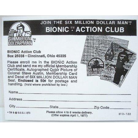 1973/76 Six Million Dollar Man Sheet & Bionic Club Membership - Copy, Laminated (Dollar Bead)