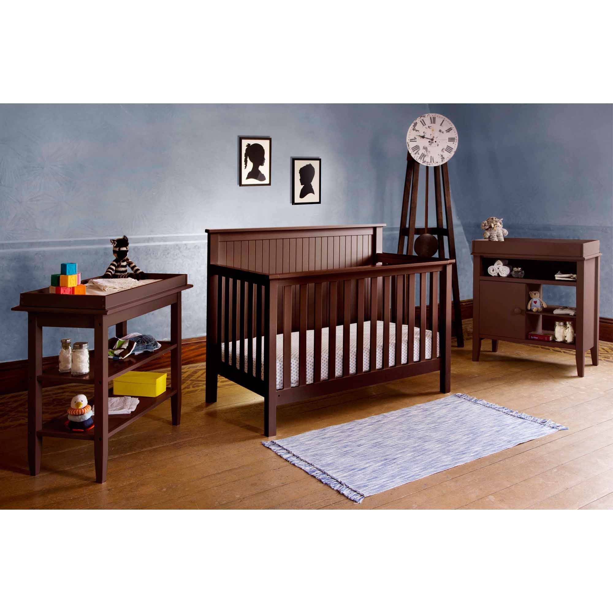 Lolly and Me Americana 4-in-1 Fixed-Side Convertible Crib, Espresso