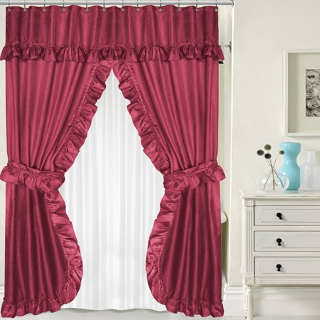 Lauren double swag peva fabric shower curtain with tie for Double width curtain lining