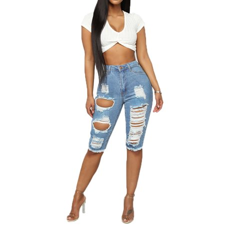 Utowu Womens Vintage Ripped High Waist Denim Jeans Shorts Ladies Summer Sexy Hot