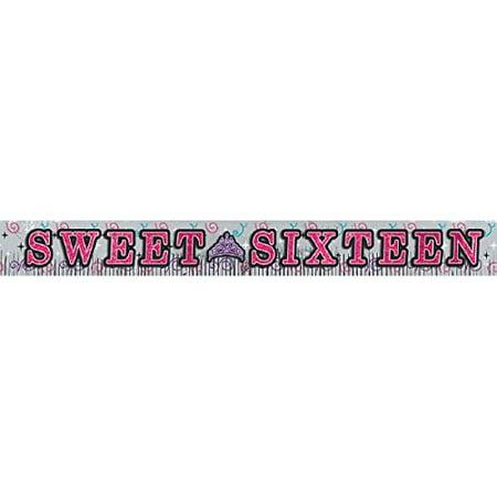 Sweet Sixteen Birthday Celebration Foil Fringe Party Banner for $<!---->