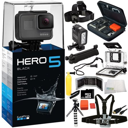 Gopro Hero5 Black 14Pc Accessory Bundle   Includes Waterproof Housing   Head   Chest Strap   32Gb Microsd Memory Card   More