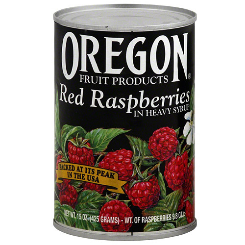 Oregon Fruit Products Red Raspberries In Heavy Syrup, 15 oz (Pack of 8)