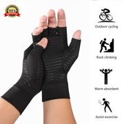 1Pair New Copper Arthritis Compression Gloves Fit Hand Support Joint Pain Relief L Size
