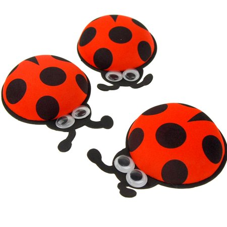Googly Eye Costume (Foam Ladybug Favors with Googly Eyes, Red, 4-1/2-Inch, 10)