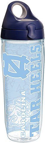 Clear Tervis 1221254 North Carolina Tar Heels College Pride Tumbler with Wrap and Navy with Gray Lid 24oz Water Bottle