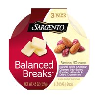 Sargento, Balanced Breaks White Cheddar Cheese, Sea Salted Roasted Almonds & Dried Cranberries Snacks, 1.5 Oz., 3 Count