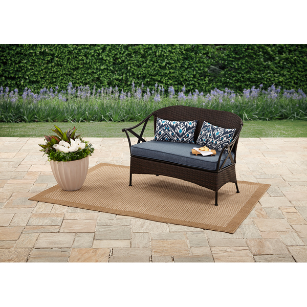 Mainstays Skylar Glen Outdoor Bench with Cushion, Blue, Seats 2