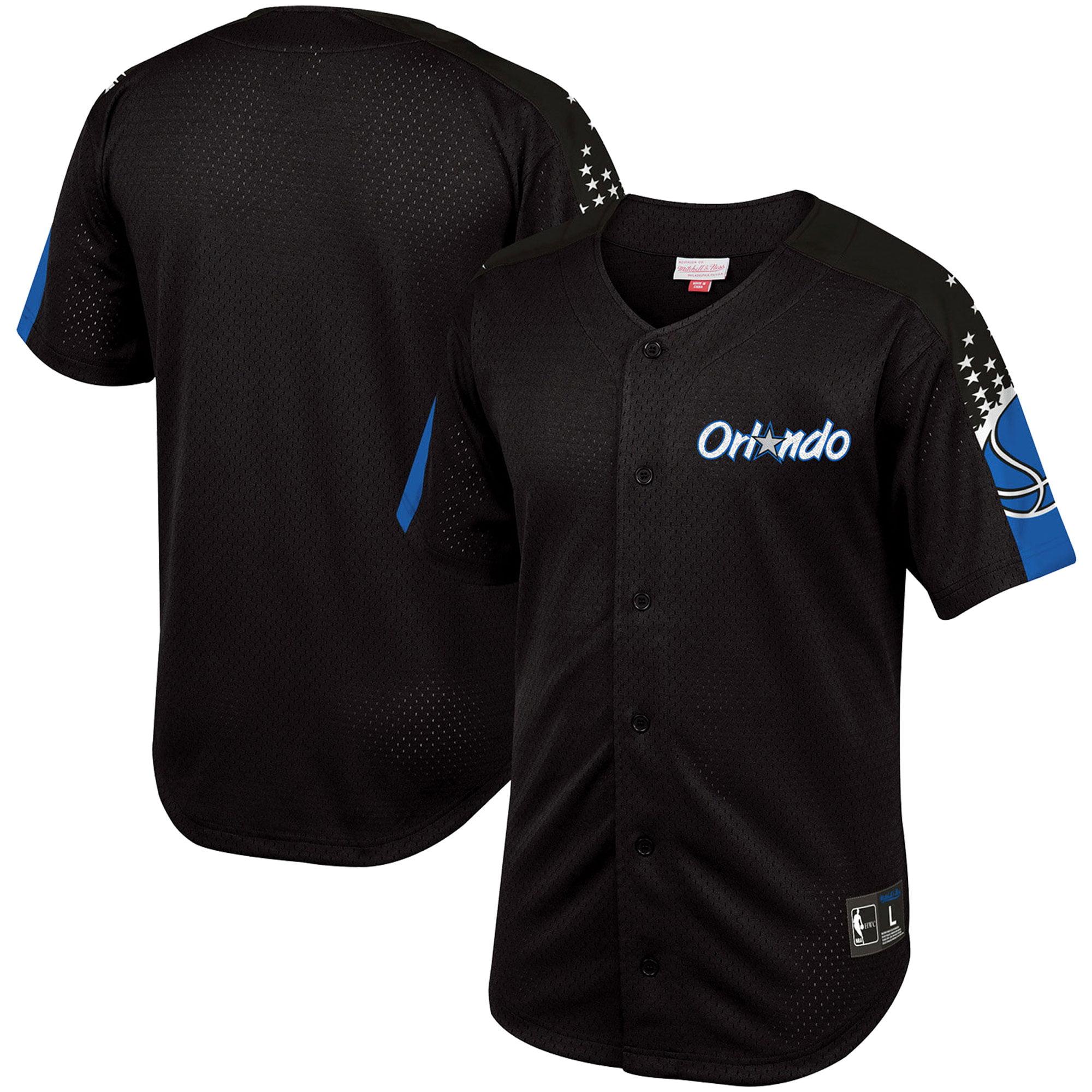 Orlando Magic Mitchell & Ness Winning Team Mesh Button Front Shirt - Black