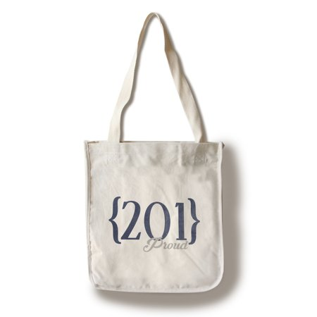 Jersey City  New Jersey   201 Area Code  Blue    Lantern Press Artwork  100  Cotton Tote Bag   Reusable