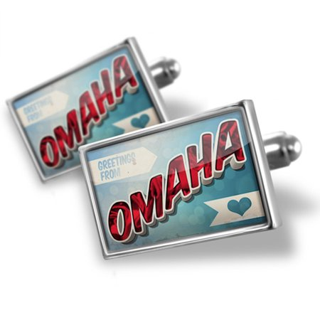 Cufflinks Greetings from Omaha, Vintage Postcard - NEONBLOND - Post Office Hours Omaha