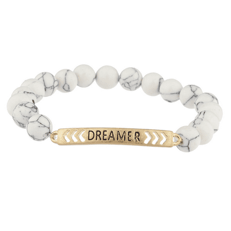 Lux Accessories Boho burnished Gold Dreamer White Marble Beaded Stretch - Marble Beaded Bracelet