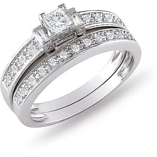 Miabella 1/3 Carat T.W. Princess, Baguette and Round-Cut Diamond 10kt White Gold Bridal Set