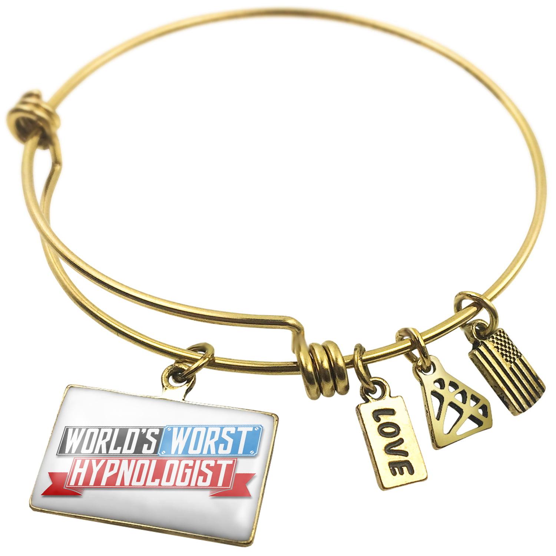 Expandable Wire Bangle Bracelet Funny Worlds worst Hypnologist - NEONBLOND