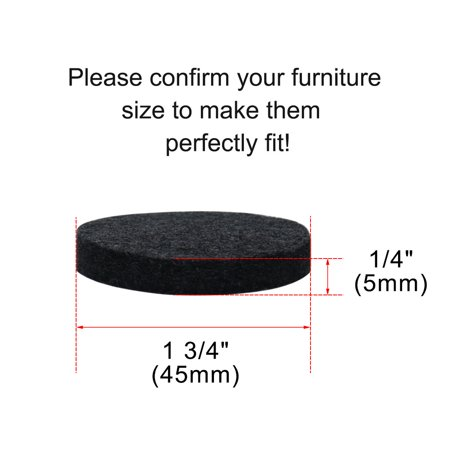 "Furniture Felt Pads Round 1 3/4"" Anti-scratch for Furniture Closet Black 32pcs - image 3 de 7"