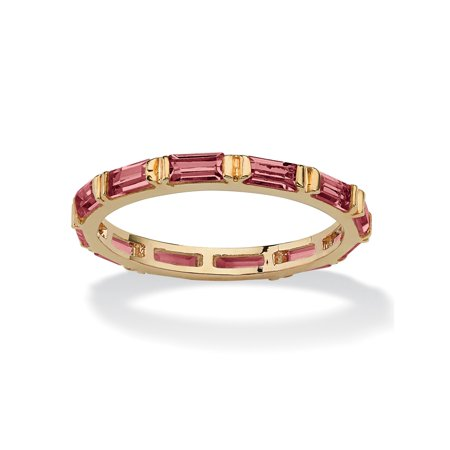 Baguette-Cut Birthstone Eternity Stack Ring 14k Gold-Plated - October- Simulated Tourmaline