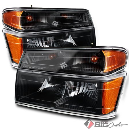 2004-2012 Colorado/Canyon Black Replacement Headlights w/Signal Lights Set Pair L+R 2005 2006 2007 2008 2009 2010 2011 2007 Chevrolet Colorado Replacement