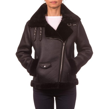 Marc New York Shearling Jacket (Nanette Lepore Faux Shearling Moto Jacket with Buckle Collar )
