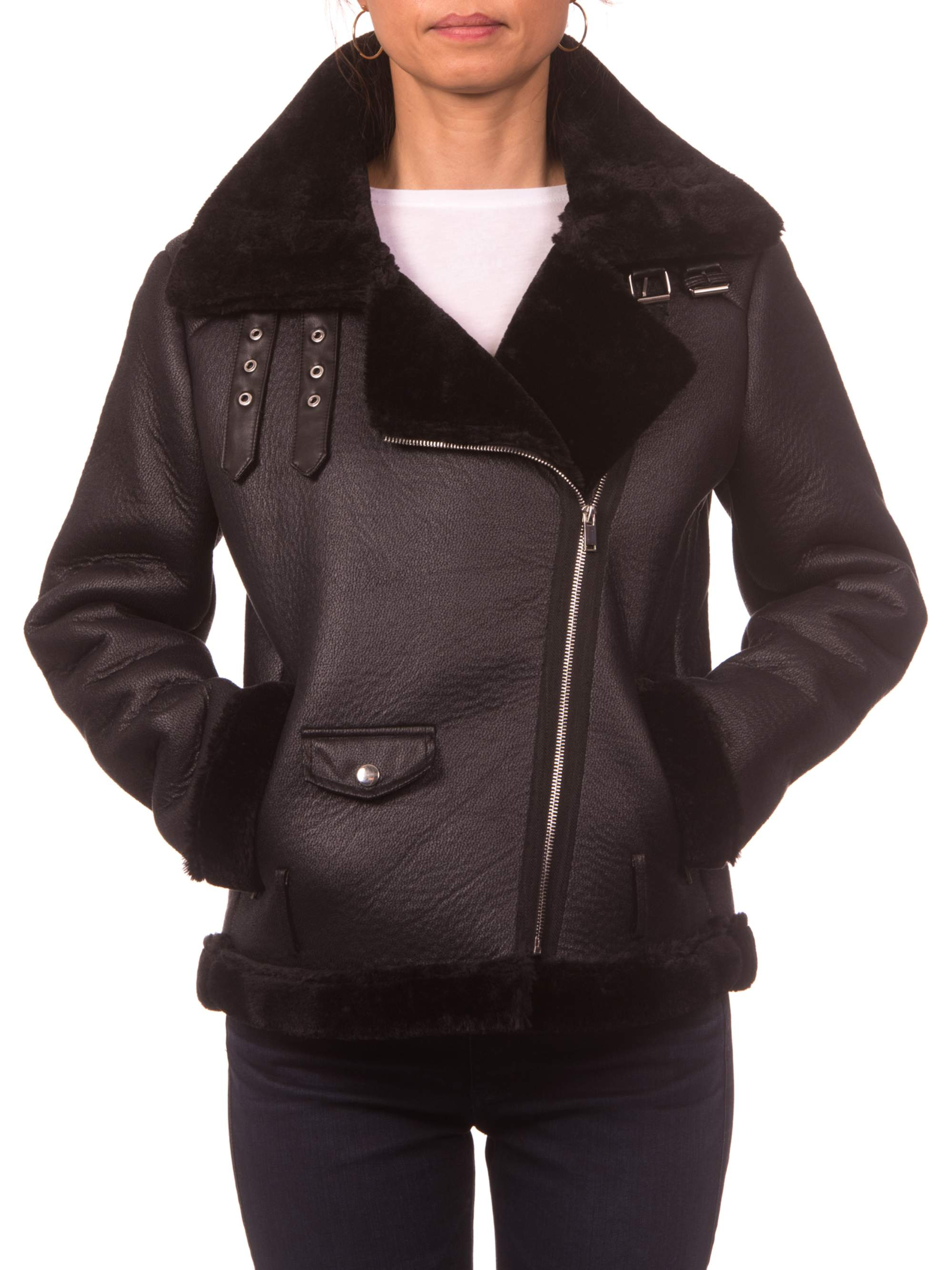 Nanette Lepore Faux Shearling Moto Jacket with Buckle Collar