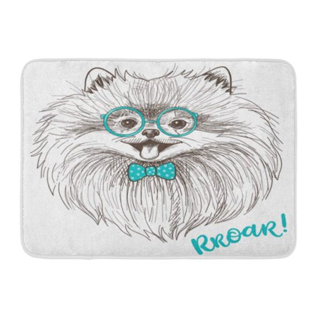 KDAGR Sweet Sketch of Cute Little Pomeranian Bow and Round Glasses Dog Smiley Face Pom Puppy Doormat Floor Rug Bath Mat 23.6x15.7 inch - Pom Puppies