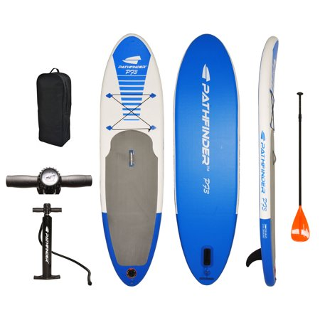 PathFinder Vilano Inflatable SUP Stand Up Paddle Board, Fin, Pump, Paddle & Carry (Best Cheap Paddle Board)