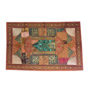Mogul Indian Ethnic Tapestry Brown , Gold, Teal, Russet, Silver Patchwork Table Runner Bohemian Decor Wall Throw