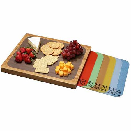 Seville Classics Easy To Clean Bamboo Cutting Board And 7 Color Coded Flexible Cutting Mats With Food Icons Set